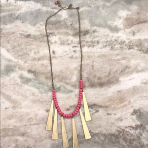 Gold and hot pink tribal necklace